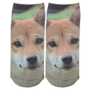 MULTI-COLOR CUTE DOG PRINT LOW CUT ANKLE SOCKS
